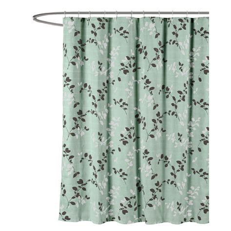 Gray Shower Curtains Fabric Creative Home Ideas Meridian Printed Cotton Blend 72 In W X 72 In L Soft Fabric Shower Curtain