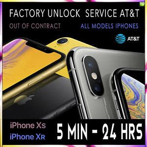 factory unlock code service imei at t for iphone xs xr x 8 8 7 6 fast 5m 24hrs ebay
