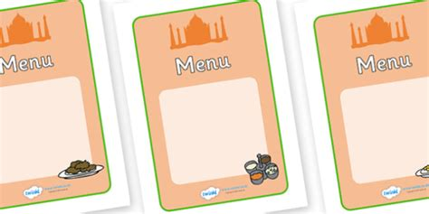 indian restaurant play menu writing templates indian