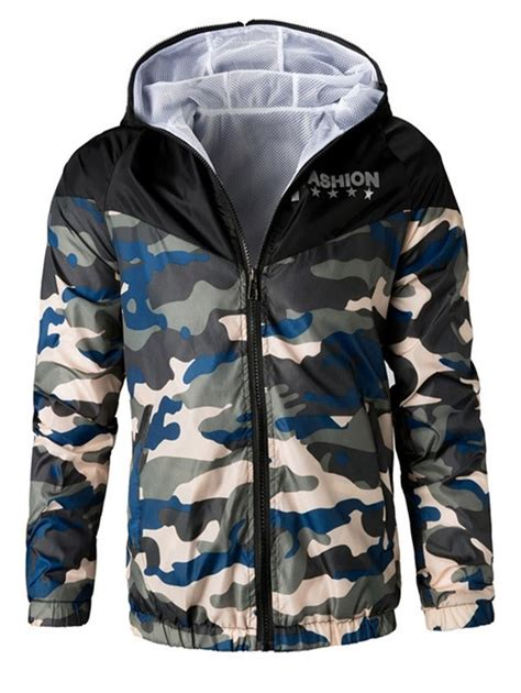 Letter Sleeve Hooded Jacket letters print camouflage splicing hooded sleeve