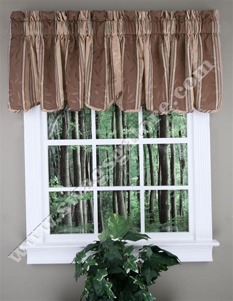 chocolate curtains with valance whitfield stripe scalloped curtain valance chocolate