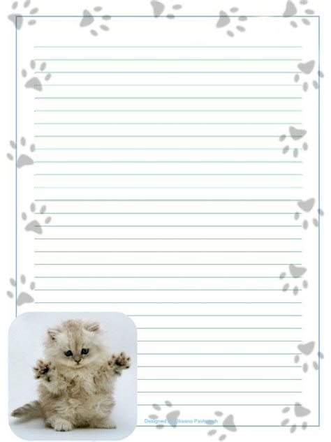 cat writing paper kitten stationery letters writing paper