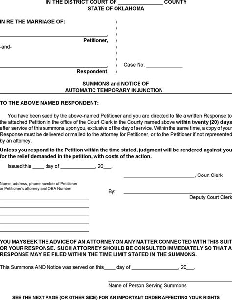 Sle Response Letter Divorce Summons Oklahoma Summons And Notice Of Automatic Temporary Injunction Form For Free Tidyform