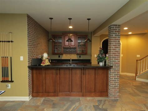 Hgtv Home Decorating Ideas basement remodel with new bar and ceramic tile floor
