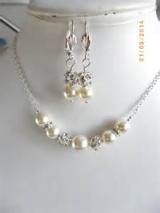 Handmade Jewelry Sets - handmade pearl bridal jewelry set necklace and earrings