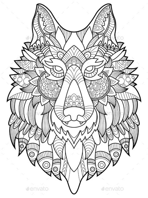 wolf coloring book  adults vector illustration