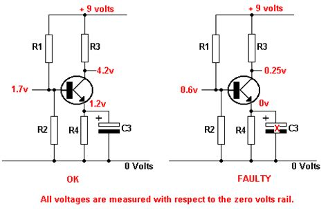 capacitor discharge fault locator emitter capacitor circuit tutorial transistor fault finding electronic hobby projects