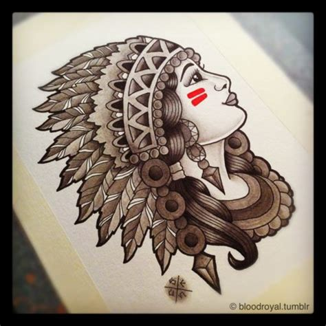 traditional native american tattoos american skull and headress of traditional