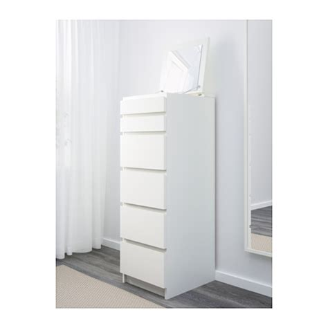 jual ikea malm lemari 6 laci putih cermin kaca jasa