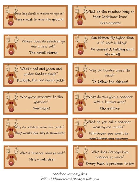 christmas cracker jokes to print a list maker s reindeer riddles free printable printables