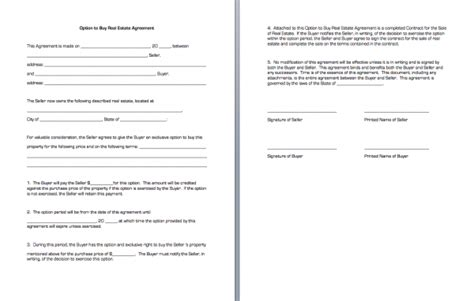 real estate option agreement template option to buy real estate agreement business forms