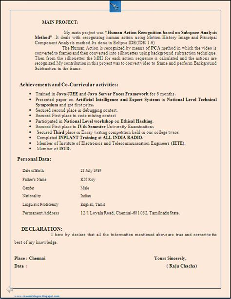 Cv Format For B Tech Freshers Resume Co B Tech It Freshers Resume Format In Word Document