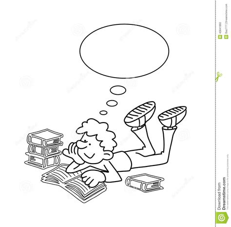 coloring page of boy thinking cartoon boy reading stock vector illustration of