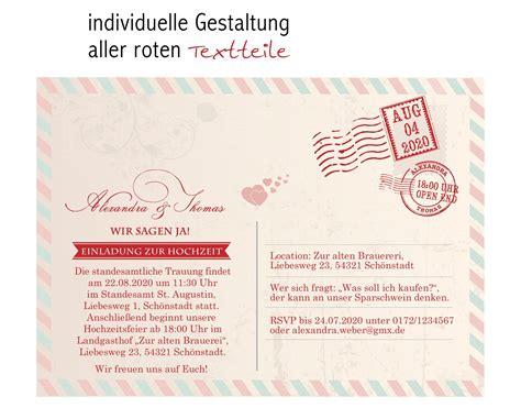 Hochzeit Einladung Postkarte by Einladungskarten Zur Hochzeit Als Postkarte Im Us Airmail