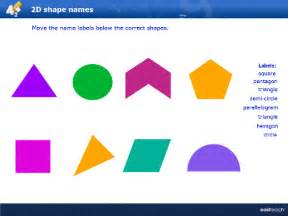 Lesson focusing on recognising the names of 2d shapes