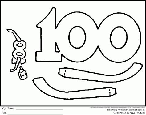 coloring page of the number 100 how to draw number 100