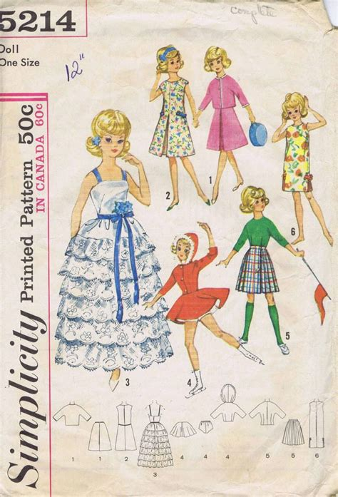 vintage fashion doll clothes sewing pattern 5214