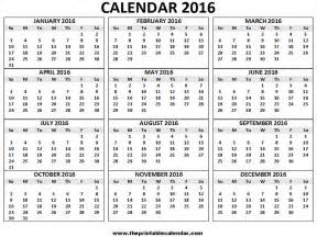2014 12 Month Calendar Template by Free Printable Calendar 2016 Monthly Calendar Template 2016