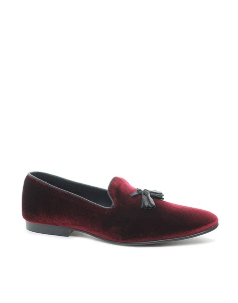 burgundy loafers for vans asos tassel loafers in velvet in purple for