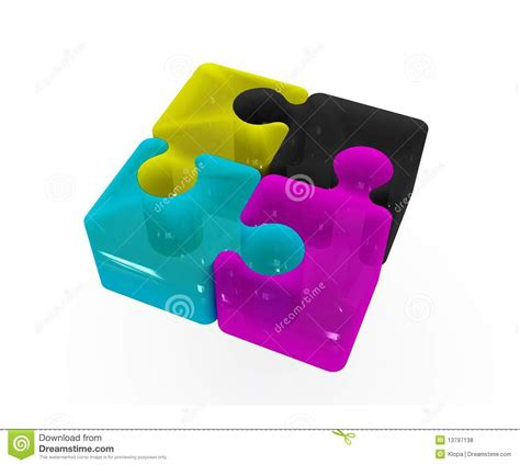 cmyk puzzle cmyk puzzle concept royalty free stock photos image