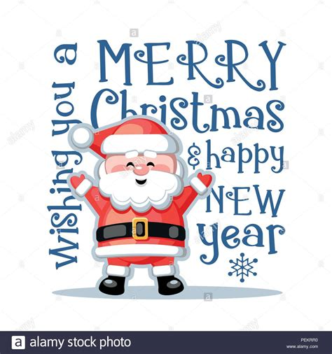 merry christmas  happy  year greeting card  funny santa claus  white background