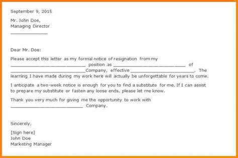 6 formal resignation letter with 2 weeks notice weekly agenda planner