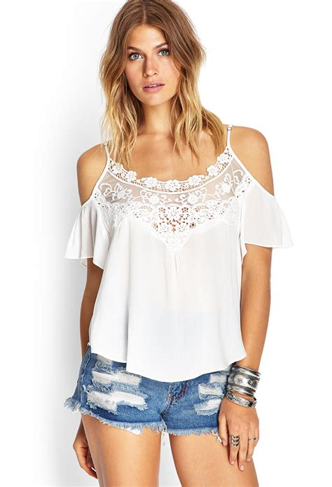 Open Shoulder Top forever 21 open shoulder peasant top in beige lyst