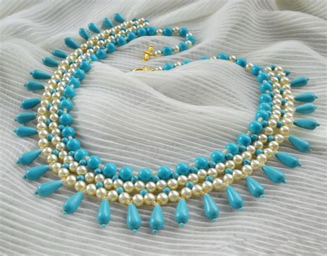 free pattern for beaded necklace turquoise pearls