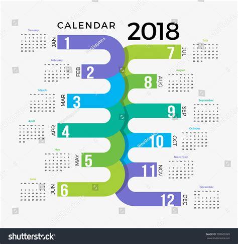 2018 Calendar Template Colorful Creative Happy Stock Vector 708609349 Shutterstock Creative Calendar Template