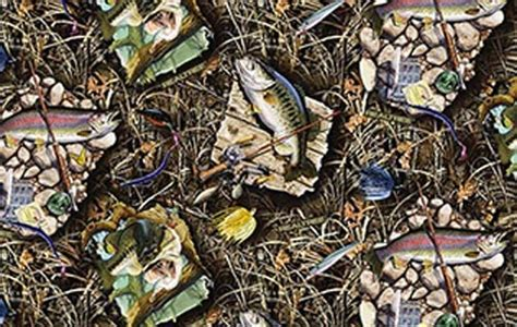 Realtree Upholstery Fabric by Realtree Advantage Max 4 Fish Sw Cotton Fabric Print By