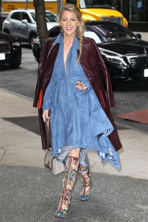 Fabric For Home Decor by Blake Lively S Denim Blue Dress And Embroidered Boots