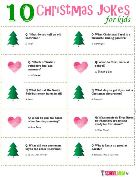 printable christmas jokes for kids 10 christmas jokes for kids with printable school mum