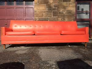 Heywood Wakefield Desk Long Modern Orange Vinyl Sleeper Sofa With Tapered Legs