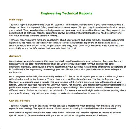 technical report templates sle engineering report 14 documents in pdf
