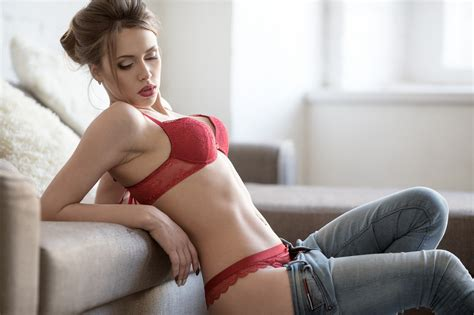 sofa porno download 2048x1365 women couch red lingerie belly