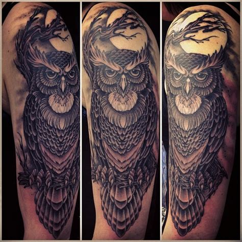 quarter sleeve owl tattoo owl half sleeve by mark lonsdale sydney australia