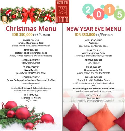 luckee new year menu iltempio and new year menu bali garden
