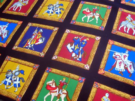 knights cotton fabric squares blocks quilting sewing