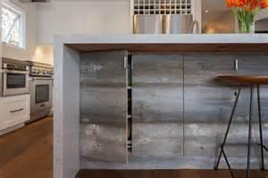 Reclaimed Kitchen Cabinet Doors Waterfall Kitchen Island Transitional Kitchen Eric