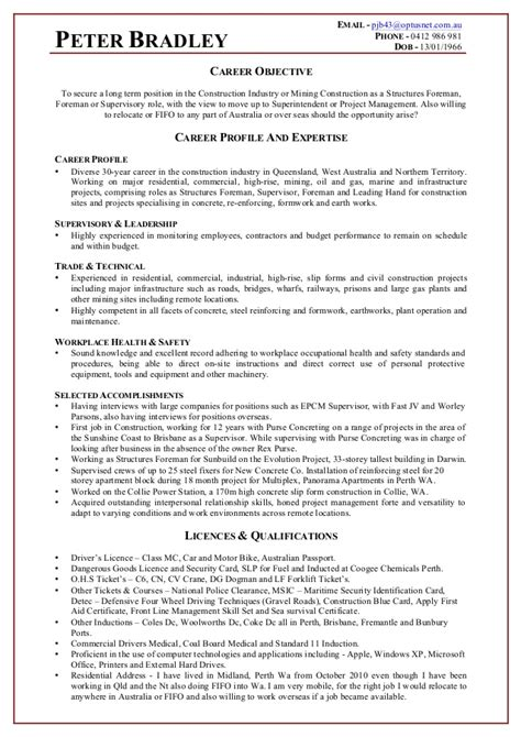 bradley construction resume