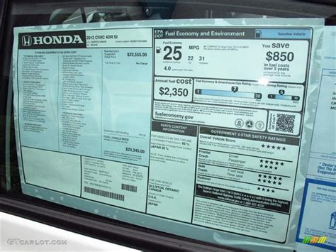2012 honda civic si sedan window sticker photos gtcarlot com