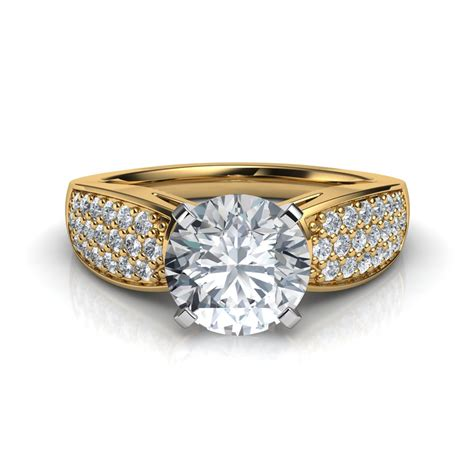 pave diamonds wide band pav 233 cut engagement ring