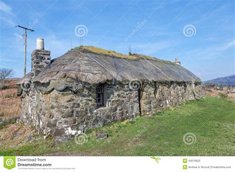 croft house traditional scottish thatched croft house stock photo