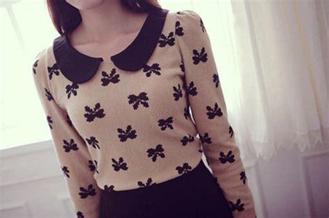 pattern sweaters tumblr sweater peter pan collar sweater bow pattern peter pan