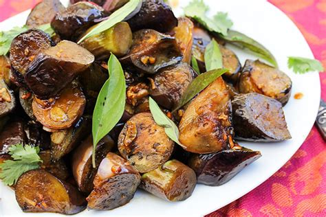 sticky spicy sauteed asian eggplant nourish evolution