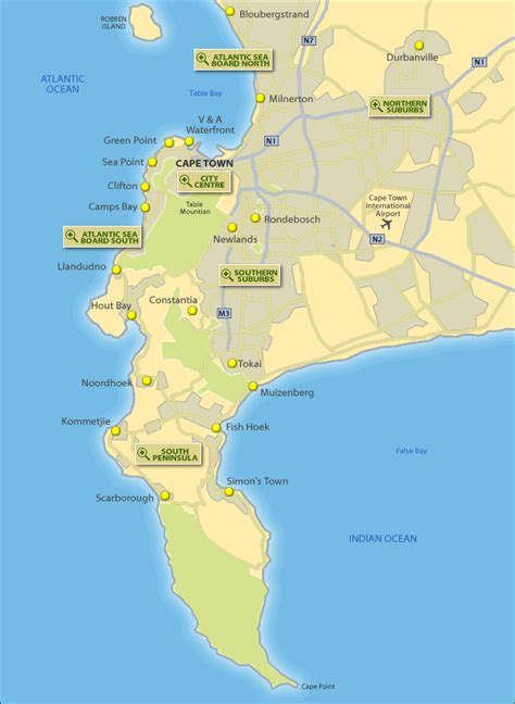peninsula map tourist map of cape peninsula south africa
