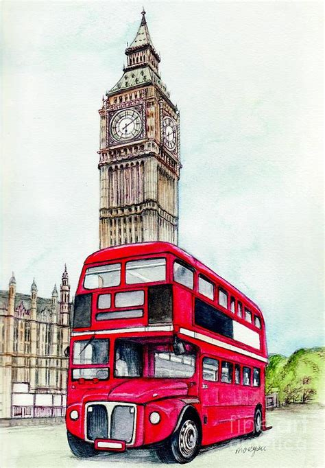 London Bus And Big Ben Painting by Morgan Fitzsimons