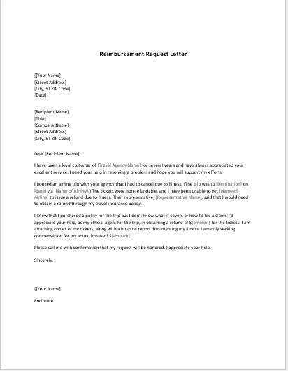 Reimbursement Letter Template Reimbursement Request Form Amp Letter Templates Word