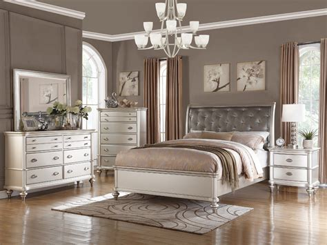 Bedroom Set by 4pc Zurich Modern Transitional Metallic Silver Wood