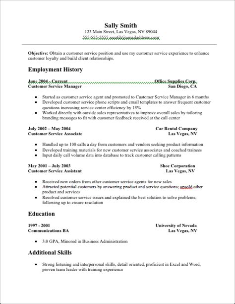 free resume templates for customer service jobresumeweb customer service resume exles resume